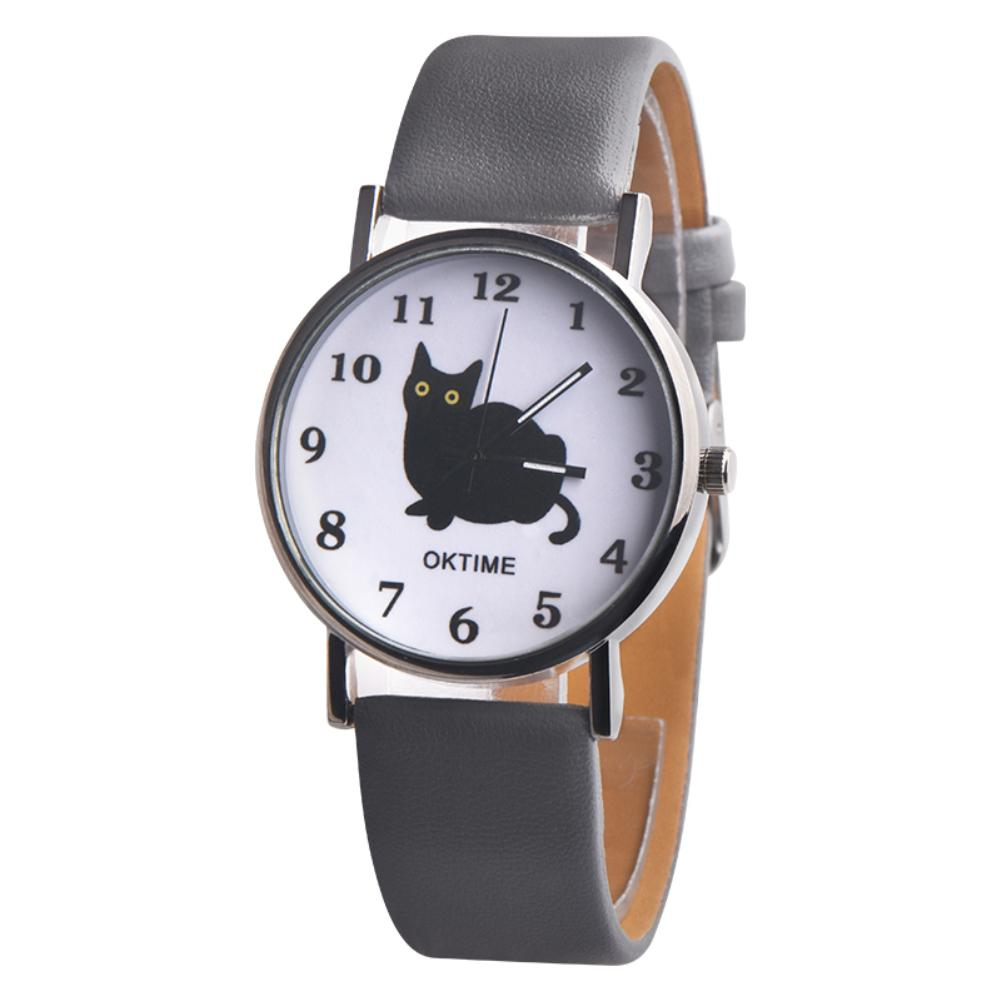 2018 <font><b>Fashion</b></font> Cartoon Cat Pattern Faux <font><b>Leather</b></font> Band Quartz <font><b>Unisex</b></font> Wrist Watch Gift ladies watch <font><b>montre</b></font> <font><b>femme</b></font> <font><b>relojes</b></font> para <font><b>mujer</b></font> image