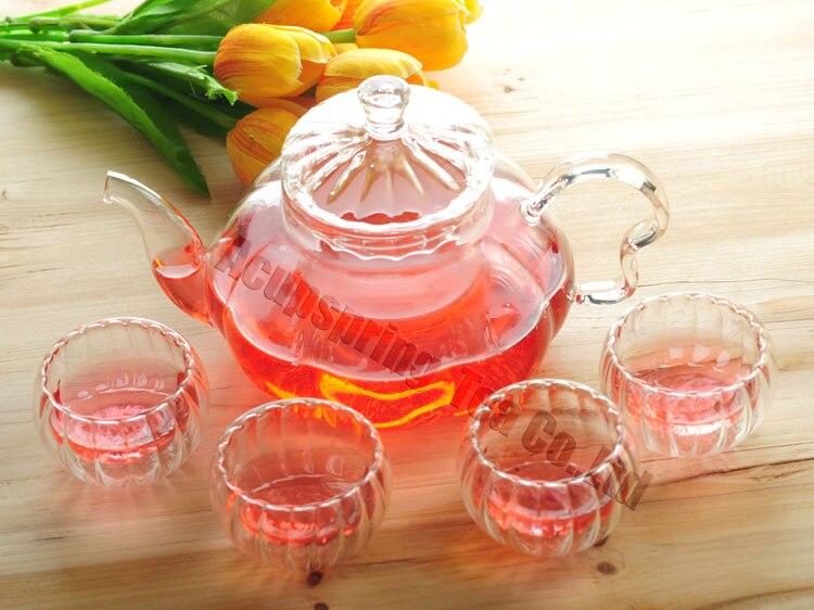 Théière en verre de citrouille 600 ml avec infuseur/filtre + 4/6 tasse, ensemble de thé pour infusion blanc/à base de plantes/fleur/matcha/noir/vert/thé puer chinois