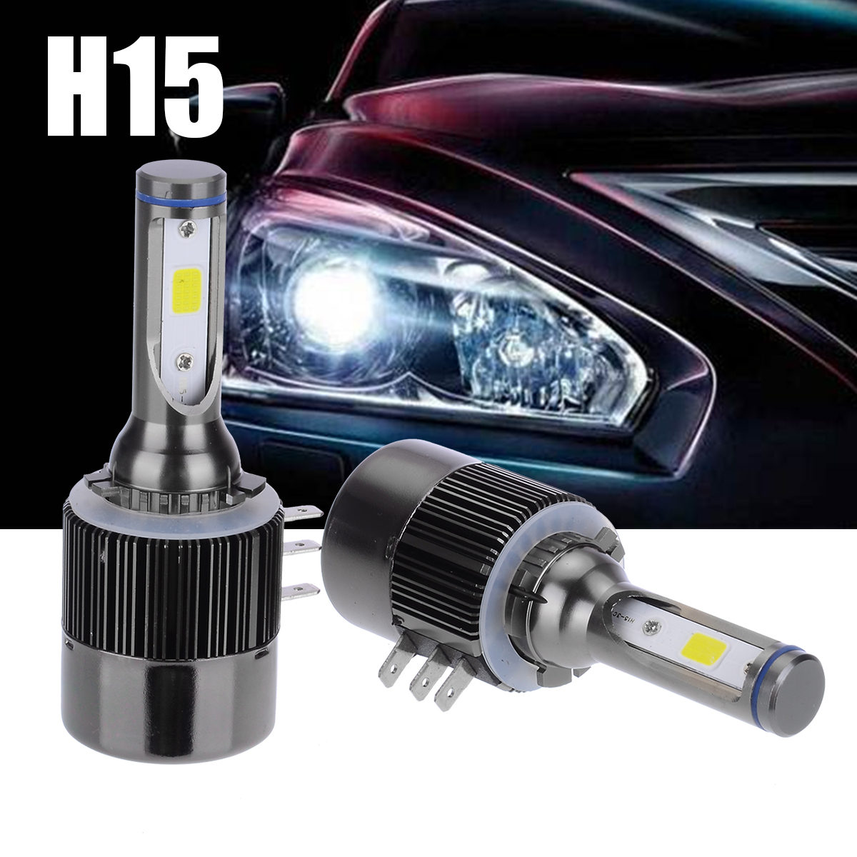 2Pcs H15 110W 26000LM COB LED Headlight 9V-32V Bulb 6000K High Quality Fog Light Lamps Bulbs For Audi Benz
