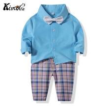 Kimocat bebes Spring and fall cotton long sleeve bow gentlemen handsome shirt check pants baby boy set