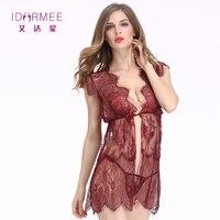 IDARMEE Sexy Boutique Lenceria Érotisme Dames Vêtements De Nuit Pure Dentelle Chemise String Cadeau de Saint-Valentin Sexy Lingerie Babydoll Chaud