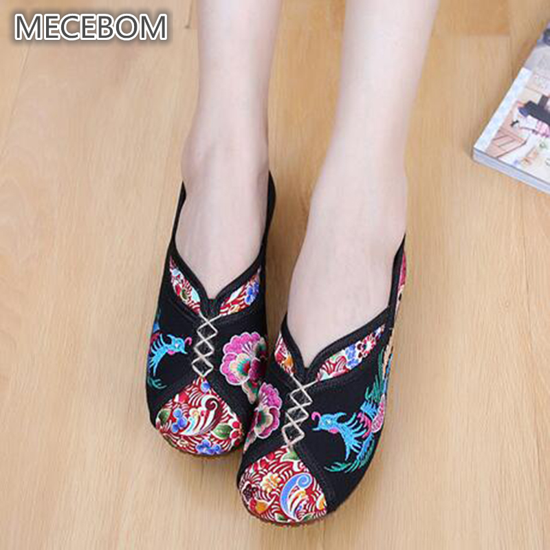 2018 Hot Sale Canvas Ethnic Style Floral Light Round Toe -7905