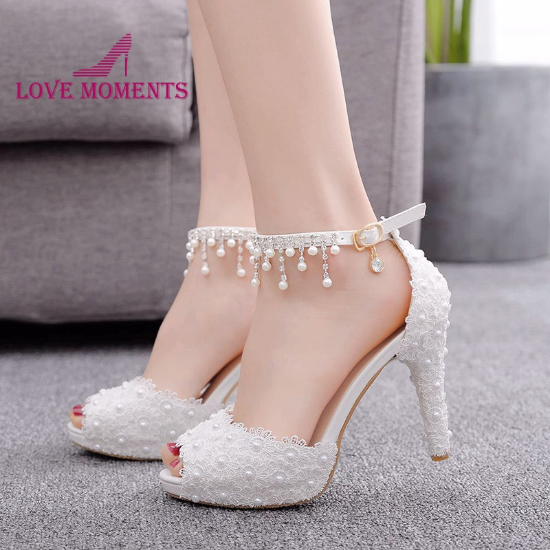 2019 White Lace Peep toe Ankle Straps Shoes 4 Inches High Heel Bridal Wedding Party Shoes