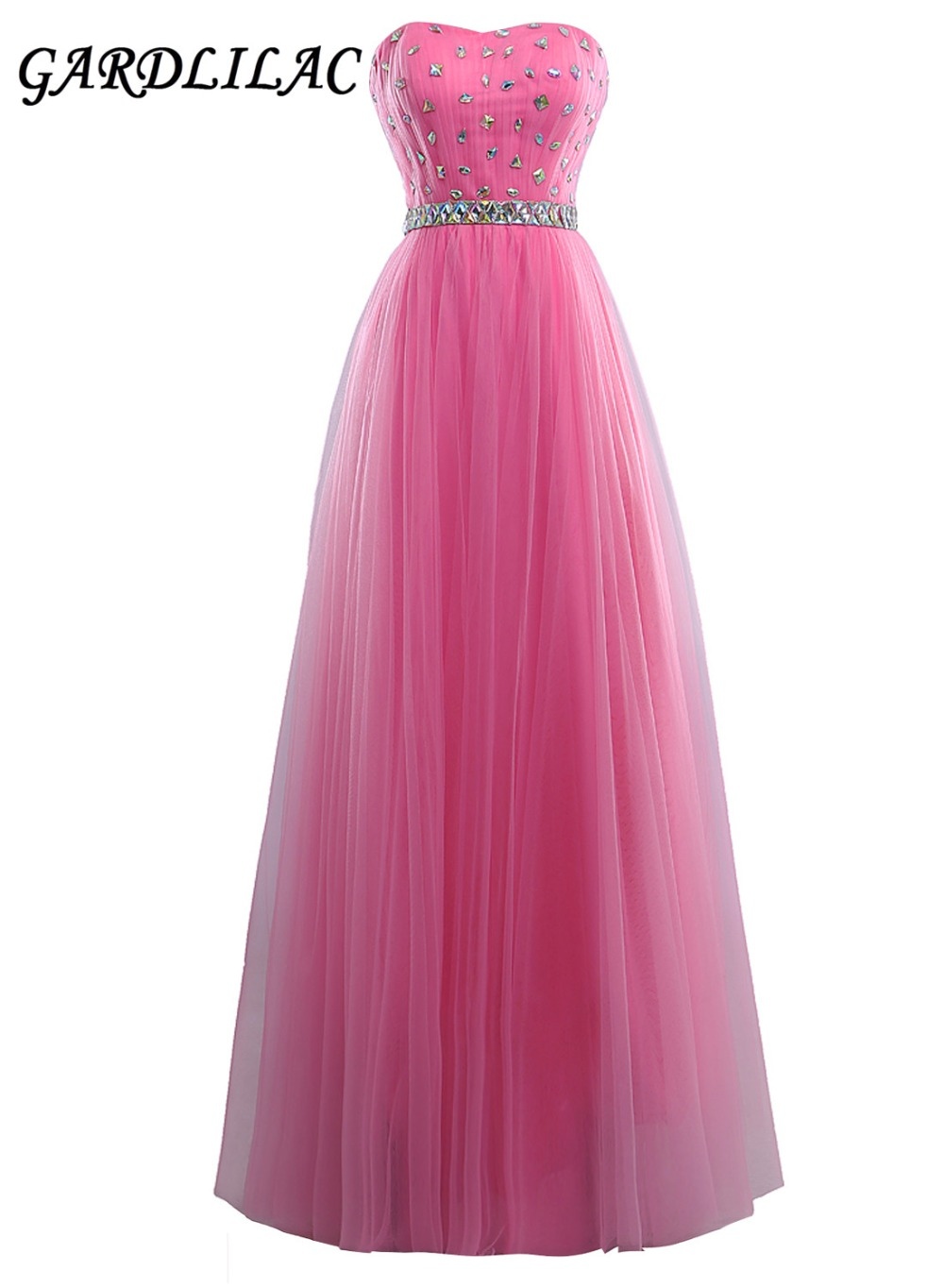 New Strapless Pink Long   Bridesmaid     Dresses   2019 Plus Size Wedding Party Gown Tulle With Beads Maid of Honor Prom Gown