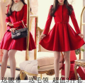 Autumn winter red woolen women coat women wool coats bride dress for wedding party and special occasion free shipping