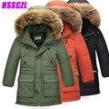 2016 nuevos niños abajo abrigo de invierno espesar chaquetas de niño grande cuello de piel chaqueta de los niños prendas de vestir exteriores parka abrigo largo abrigos desmontables