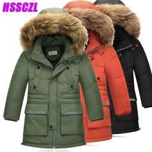 HSSCZL garçons vers le bas manteau d'hiver épaississent garçon vestes grand fourrure naturelle collchildren veste survêtement pardessus long détachable manteaux
