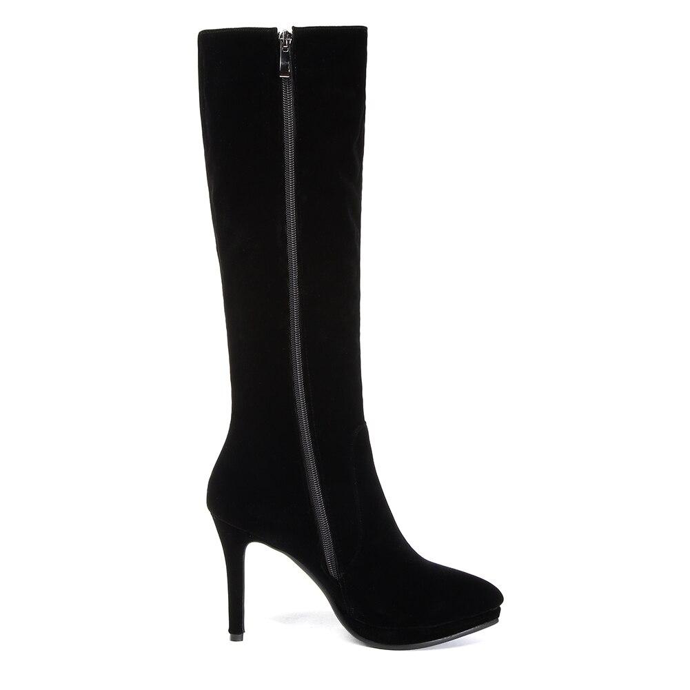 Waden Zip Party Schuhe Marke Heels Frau Großhandel Spitz Schwarzes Doratasia Mittlere High Neue 43 33 Größe Plus Stiefel Up 1nH47q