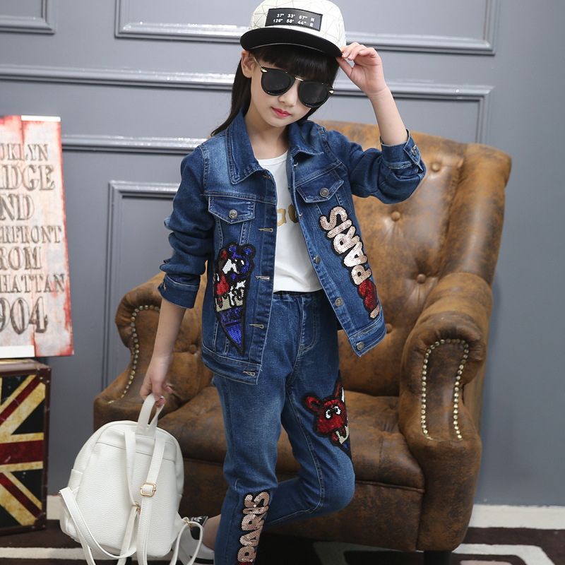 Autumn New Product Girl Child Cowboy Paillette Two Pieces Motion Leisure Time Suit Kids Clothing Sets autumn new product girl cowboy pearl suit children s garment single row buckle short skirt suit 2 pieces kids clothing sets