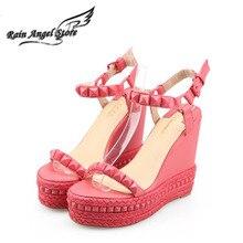 Römischen Sandalen Sommer High Heels Schuhe Niet Blickzeheplattform Keile Sandalen Frauen Kleine Größe 33 34 Zapatos Mujer Plataforma