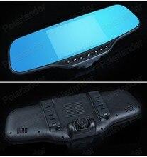 Новые высококачественные 4.3 дюймов Видеорегистраторы для автомобилей Двойной зеркало заднего вида автомобиля камера записи видео с двумя камерами dashcam ночного видения
