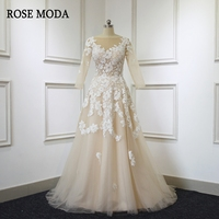 Rose Moda Lace Long Sleeves Wedding Dress 2018 Champagne Wedding Dresses With Ivory Lace Appliques Real