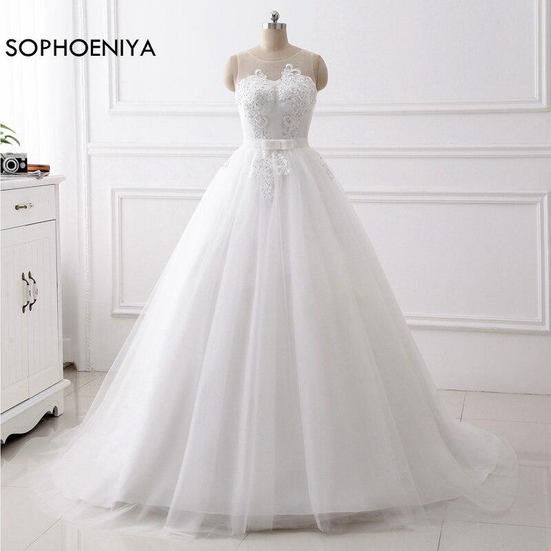 New Arrival Robe Mariage White O Neck Cheap Wedding Dresses 2019 Vestido De Novia Gelinlik Trouwjurk Bridal Wedding Gown