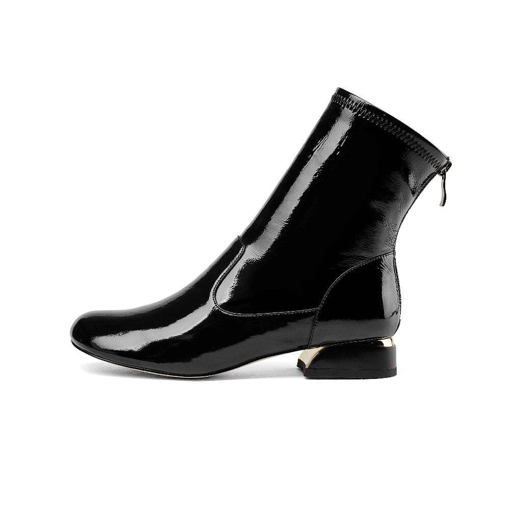 mollet Noir Chaud Zipper Véritable D'hiver Rond Marque L31 Bout Bottes Avant Mi blanc Femmes Chaussures Au En Superstar 2018 Couleur Garder Cuir Piste Mixte HxzTBwn