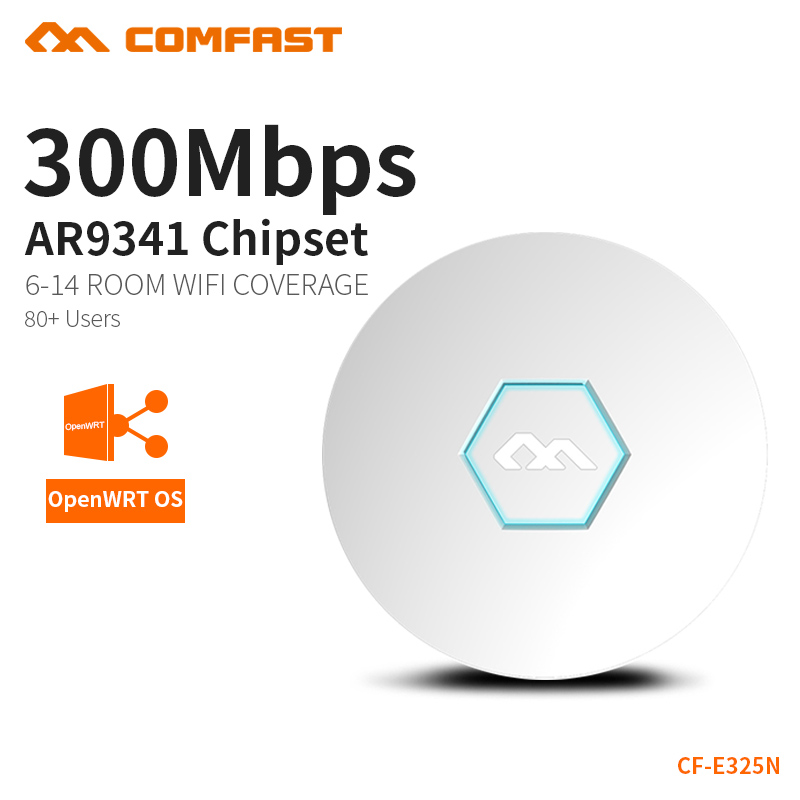 COMFAST Ceiling Ap Router 300Mbps Wireless Wifi Router Built In Watchdog +PA 300 Square Meters Coverage Support OpenWRT CF-E325N comfast 750mbps high power router 11ac wifi access point 6 6dbi antenna 600 square meters coverage wireless router cf wr635ac