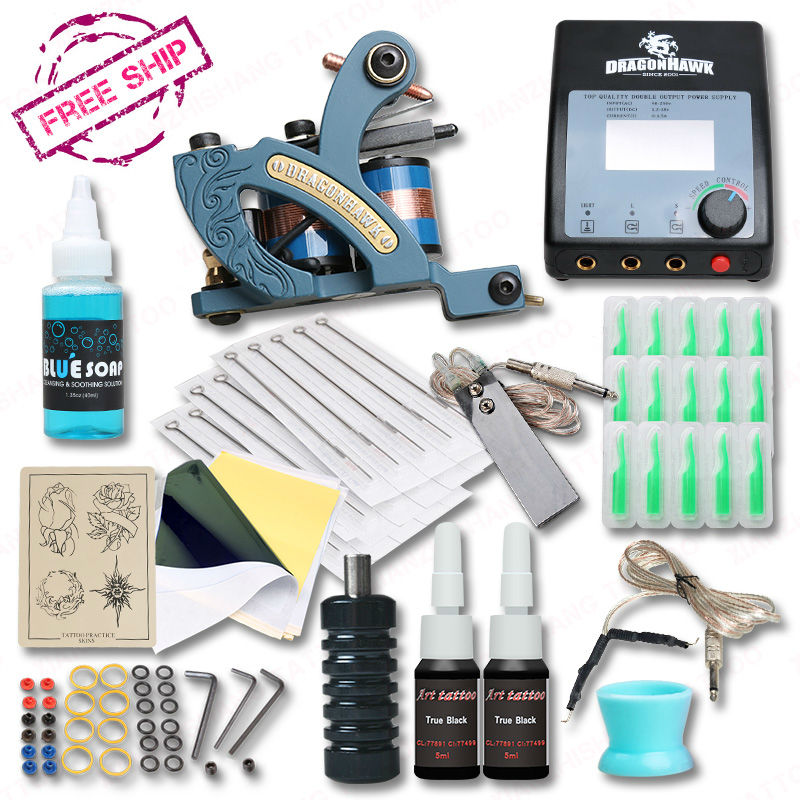New design complete tattoo kit with coloring machine for Supplies for tattooing