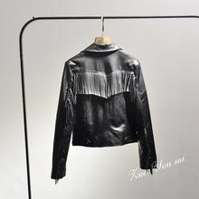 2017 Solid Zipper Slim Selling Tassel Full Women Jacket Spring New Women's Fashion Street Back Fringed Leather Pu Motorcycle