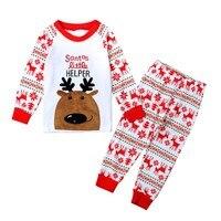 Baby Boys Girls Christmas Reindeer Home Sleepwear Set Kid Pajamas Nightwear 2 8Y