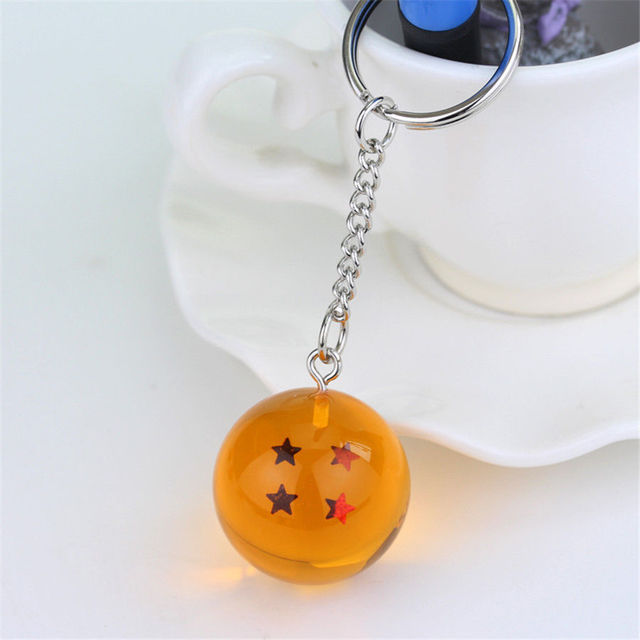 Anime Dragon Goku Ball Super Keychain 3D 1-7 Stars Cosplay Crystal Ball Key chain Collection Toy Gift key Ring 5