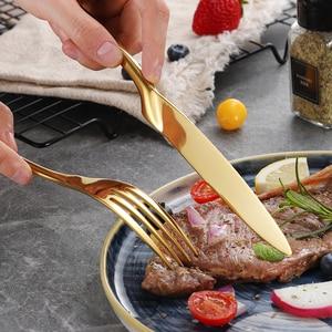 Image 4 - 24Pcs/set Stainless Steel Gold Plate Cutlery Set 304 Dinnerware Tableware Silverware Set Dinner Knife Fork Spoon Drop Shipping