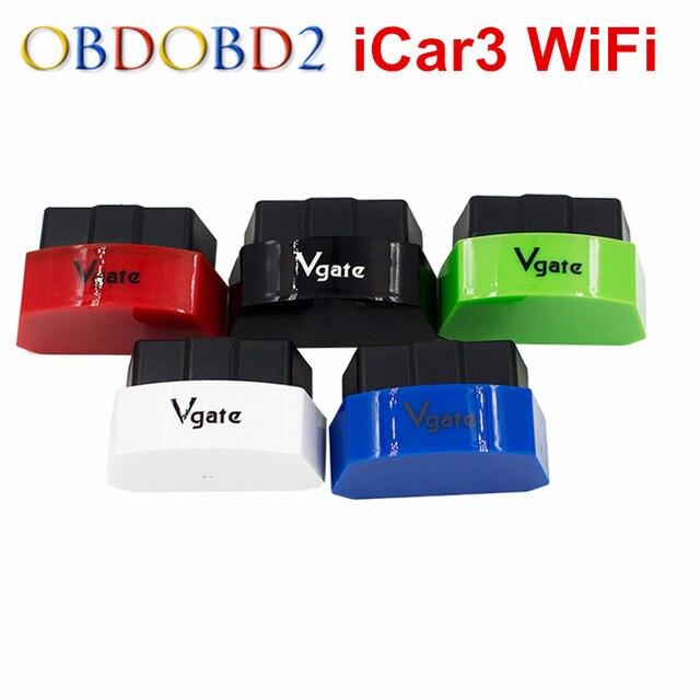 Новое Поступление Vgate iCar3 Wi-Fi OBDII OBD2 ELM327 икар 3 WI-FI Диагностический Интерфейс Для Android/IOS/ПК ELM327 WIFI Code Reader сканирования
