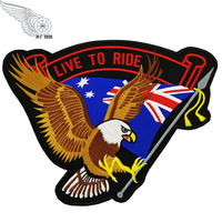Flag Hawk Embroidered Iron Patches For Clothing High Quality Full Back Design For Biker