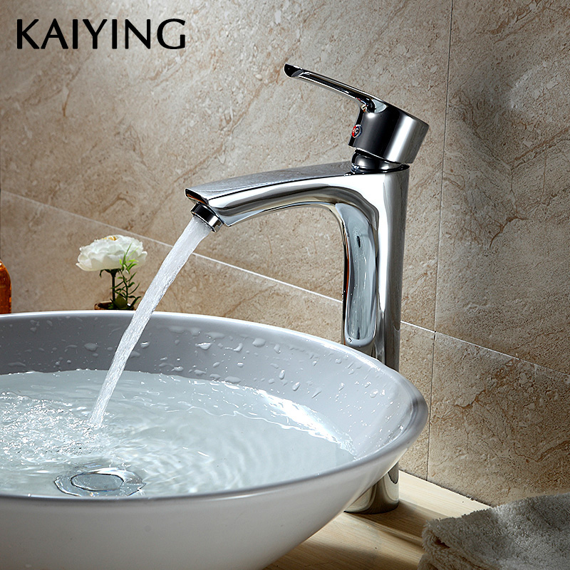 KAIYING Tall Stand Faucet Chrome Bathroom Faucet Basin Sink Mixer Tap Brass Made Cold And Hot Water Basin Faucet,2512G bathroom wash basin faucet chrome plated brass sink basin faucet hot and cold single hole toilet basin faucet mixer water tap