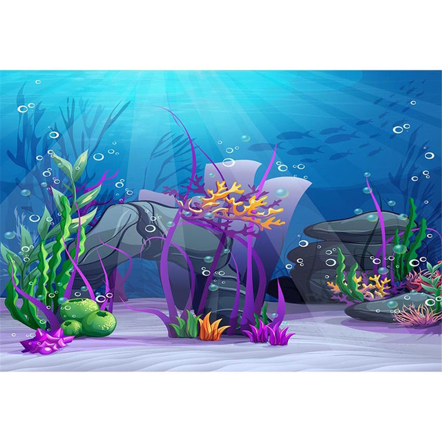 Under The Sea Party Themed Backdrop Photography Sunshine Through Deep Blue Ocean Seaweed Bubbles Little Mermaid