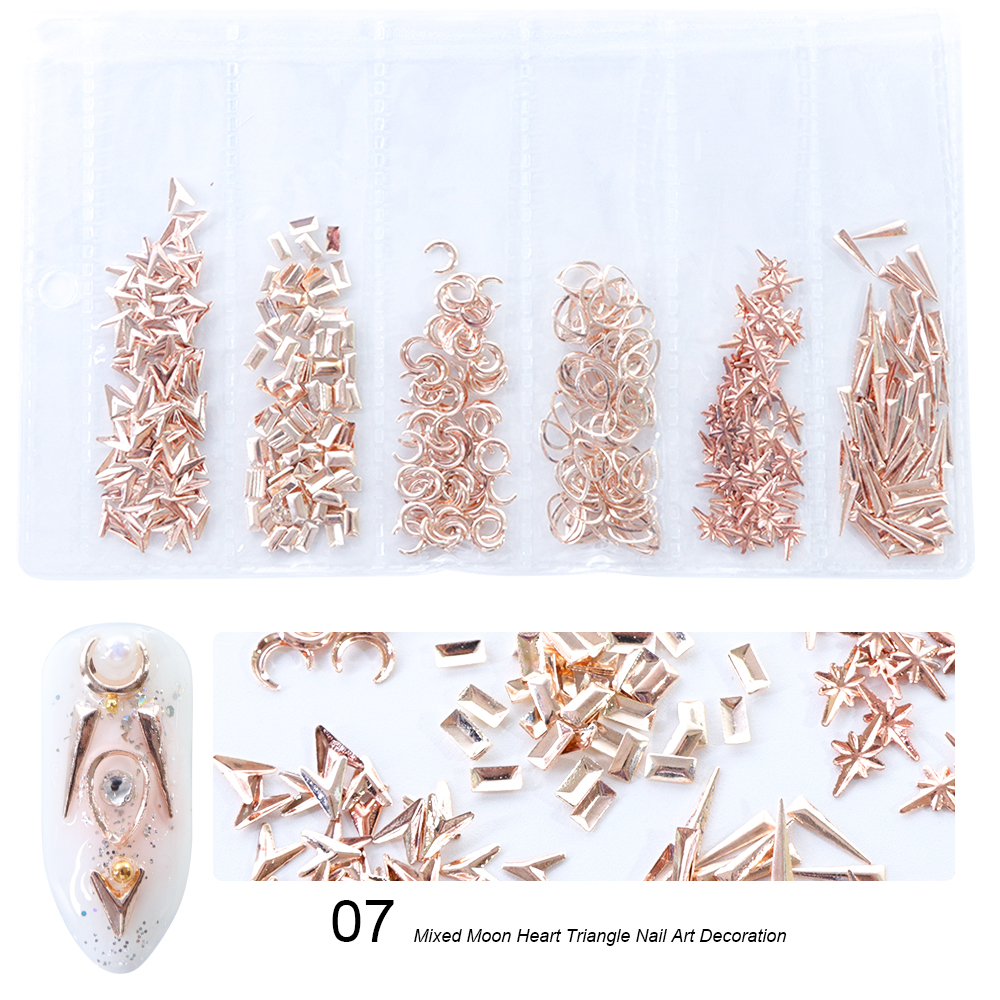 1 Pack Mixed 3D DIY Hollow Metal Frame Nail Art Decorations Gold Rivet Manicure Accessories DIY Shell Slider Nail Studs CH698 19