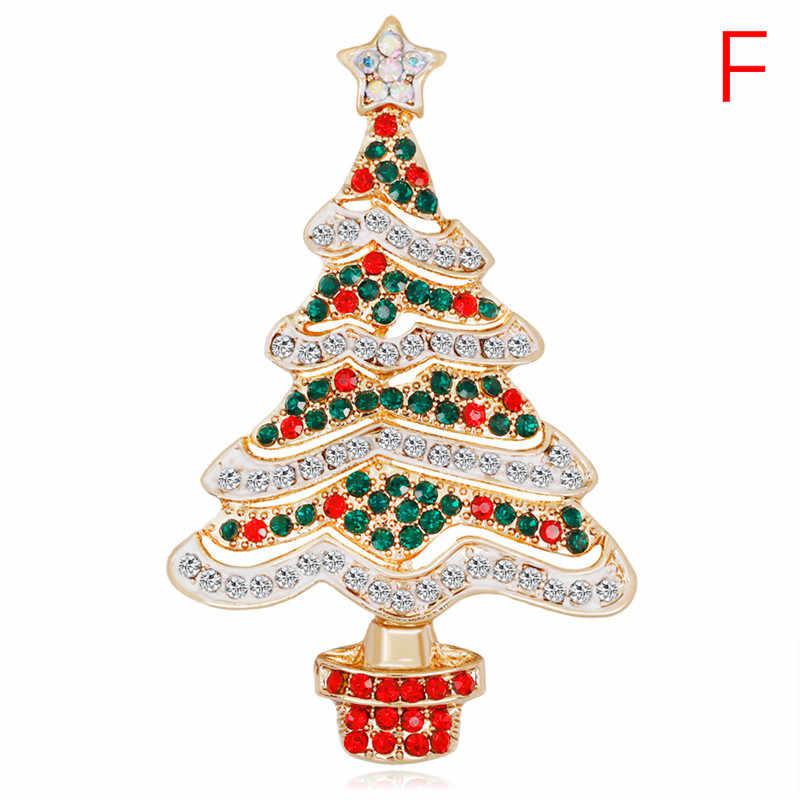 Noel emaye broş ağacı güzel kırmızı ayakkabı çizme çan geyik kardan adam kristal Pin parti takı noel hediyesi kadınlar için