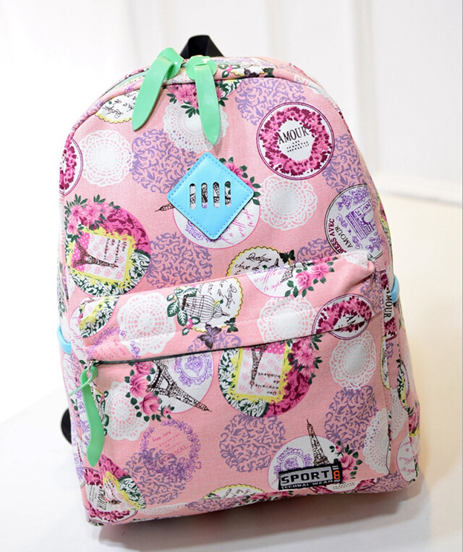 Aliexpress.com : Buy Floral Girls Designer Backpacks Canvas School ...