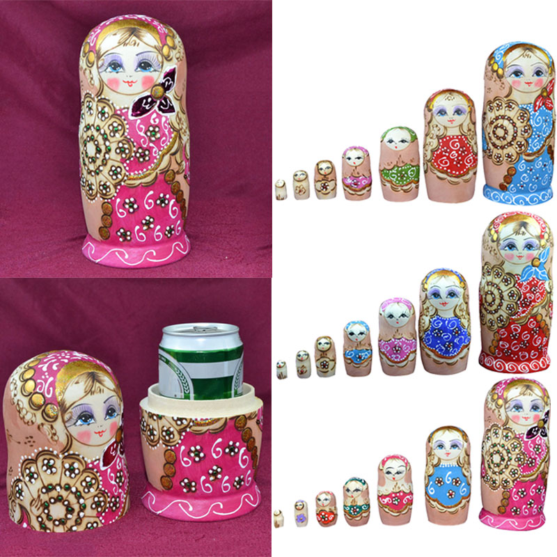 7pcs/ set Popular Russian Matryoshka Dolls Colorful Nesting Doll Wooden Crafts Child Kid ...