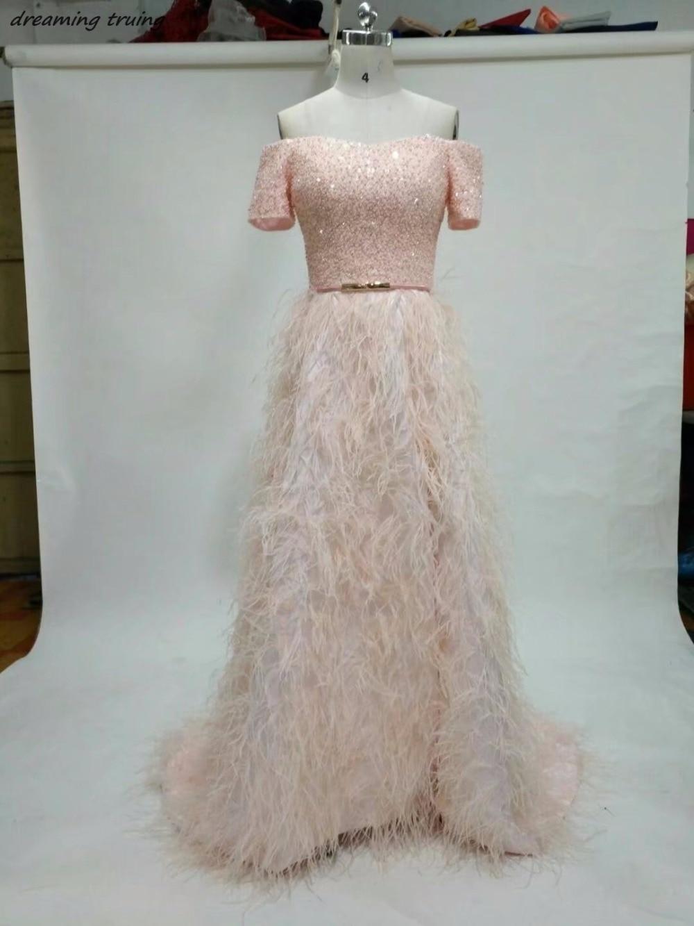 lange rosa federn prom kleid mit kurzen Ärmeln schulterfrei bodenlangen  mädchen 8 klasse graduation dresses 2018 abendkleider