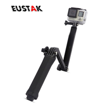 Eustak Collapsible Waterproof 3 Way Monopod Grip Extension Arm Tripod Mount For Gopro hero 4 2 3 3+ SJ4000 Xiaoyi Camera Stent