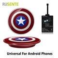 Универсальный Мститель Капитан Америка Ци Беспроводной Комплект Зарядное Устройство Для Андроид Телефон THL OnePlus Honor Micro USB устройства Бесплатная доставка