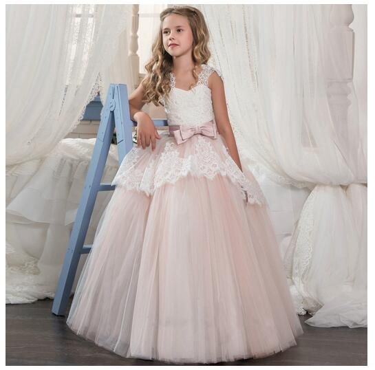 Girls Formal Dress 2017 Sleeveless Flower Girls Dresses Kids Party Lace Bow Birthday Ball Gown Children's Prom Wedding Dress girls formal dress 2017 sleeveless flower girls dresses kids party chiffon lace bow ball gown children s prom wedding dress