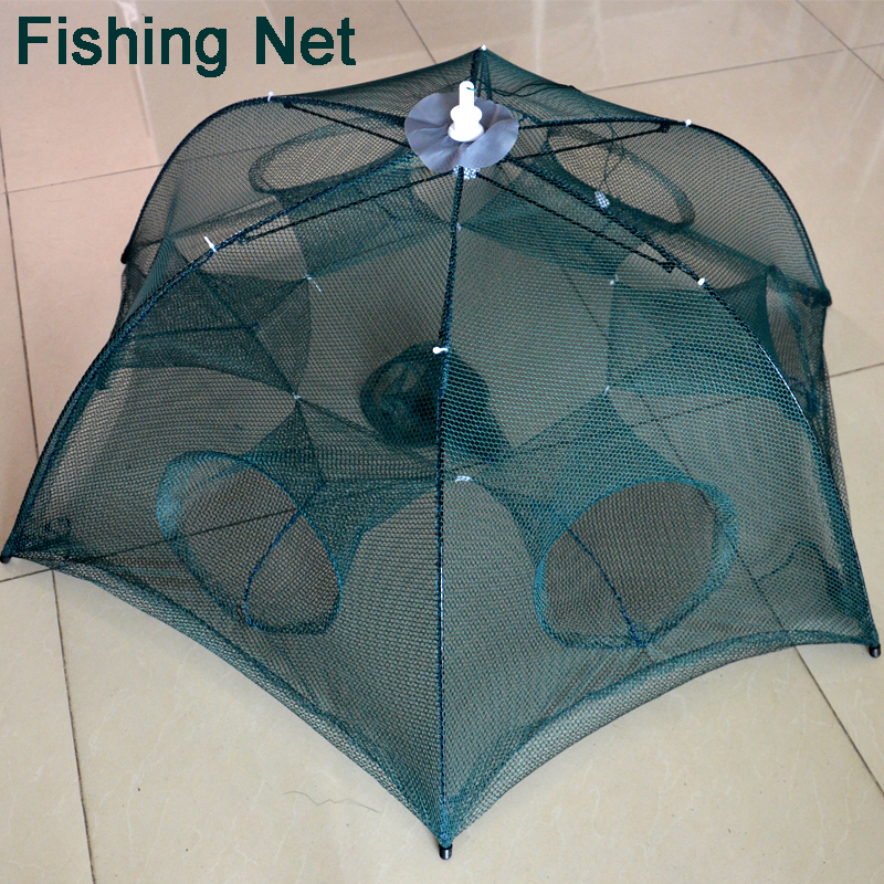 Net Cage Automatic Shrimp Cage Folding Fishing Net Cage Cast Fishing Net Tackle 6 Sides 6 Holes