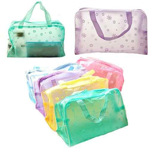 Floral Print Transparent Waterproof Cosmetic bags zip lock Toiletry Bathing Pouch Makeup Bag storage bag closet organizer bag