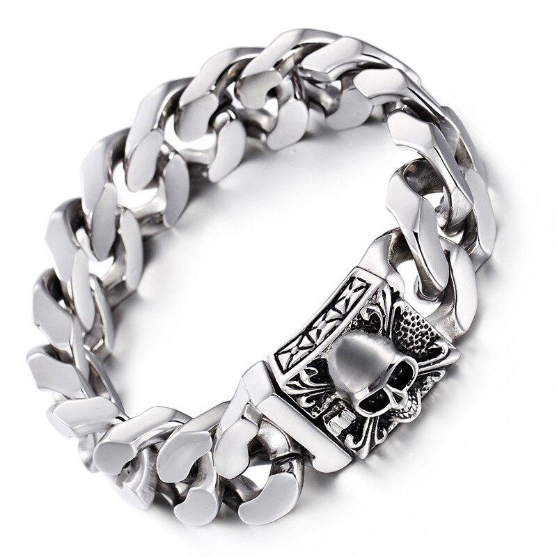 Bracelet en acier titane 316L bracelet crâne en acier inoxydable pour hommes européens et américains S148