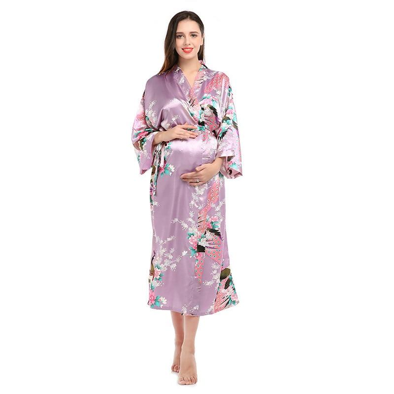 Elegant Women Loose Size Sleepwear Exquisite Print Flower Bathrobe Gown Spring And Summer New Half Sleeve Long Home Clothes in Robes from Underwear Sleepwears