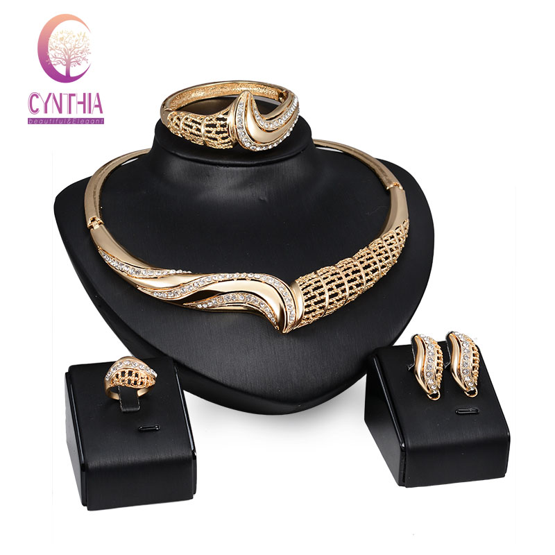 Fashion African Costume Jewelry Sets Gold color Crystal Rhinestone Wedding Bridal Necklace Earrings Bangle Ring Party Set
