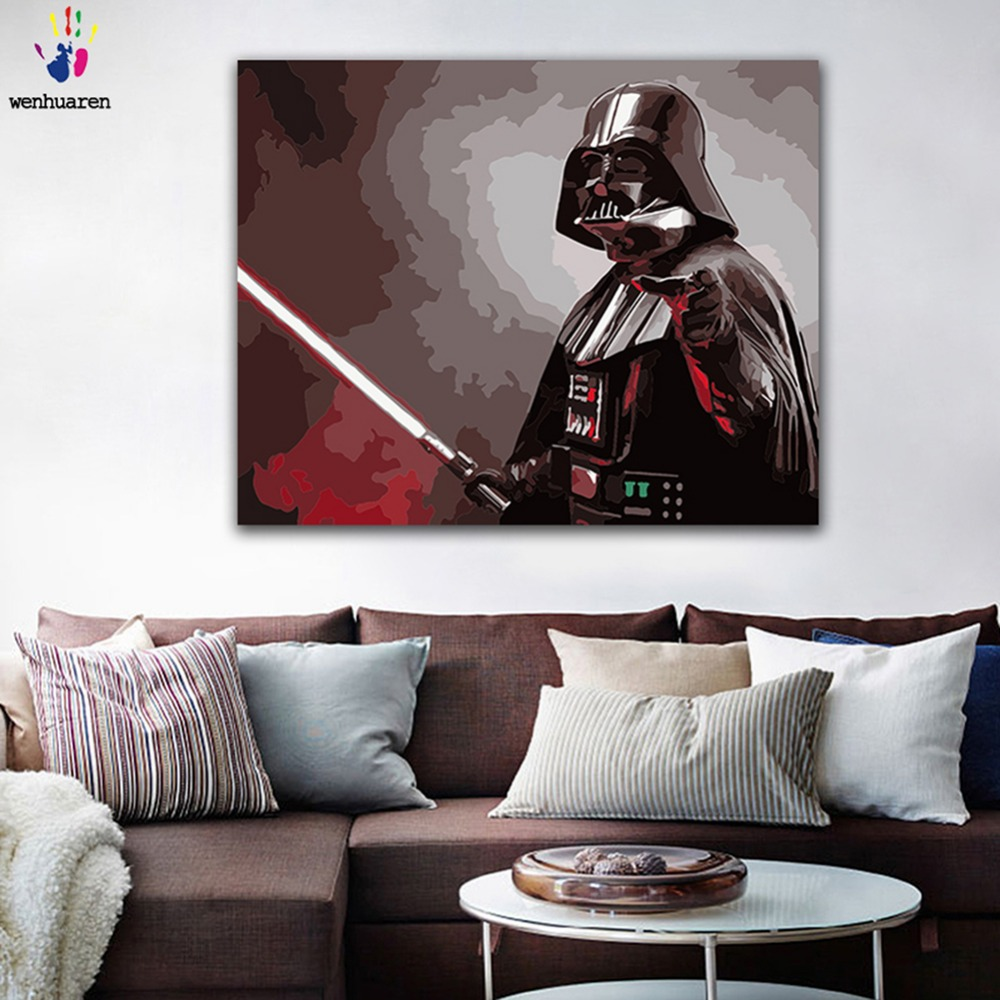 DIY Painting By Numbers Star Wars Darth Vader Darth Revan Picture Coloring Paints By Numbers With Kits For Wall Decor