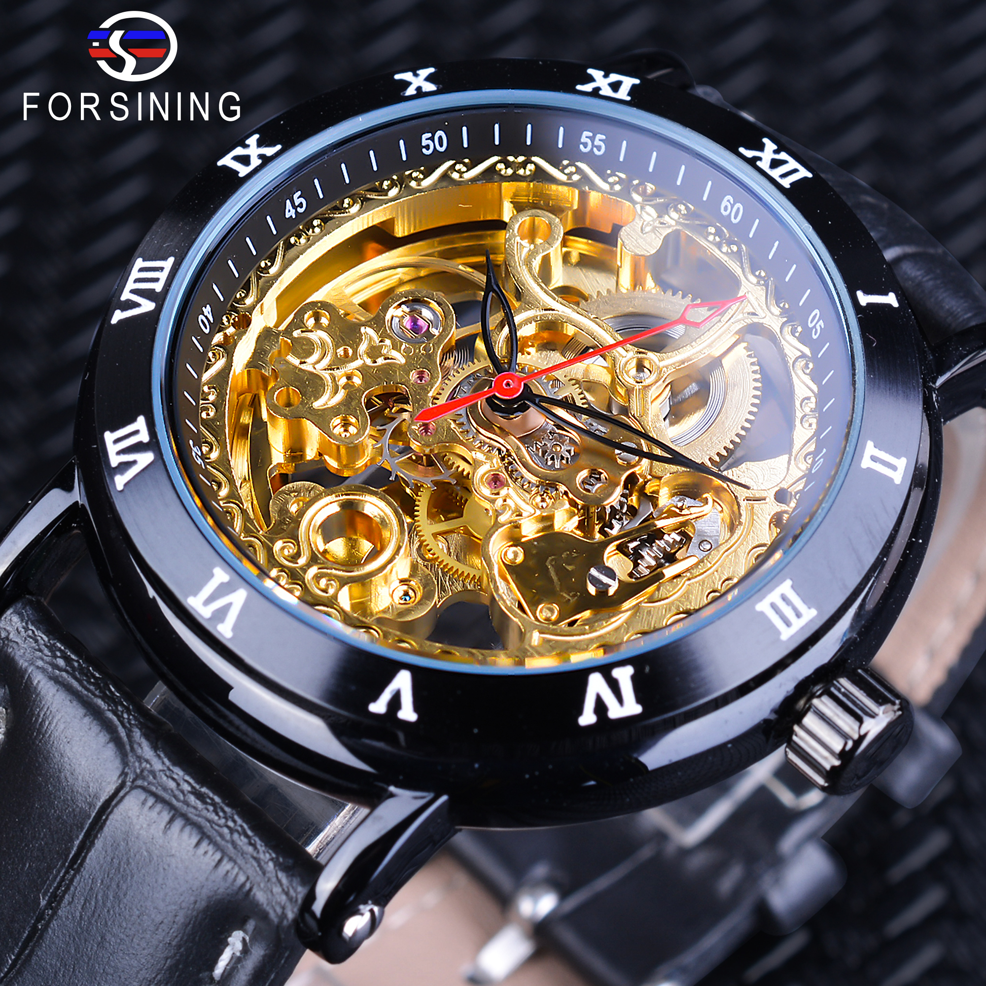 Forsining Royal Golden Skeleton Wristwatch Black Genuine Leather Roman Number Bezel Male Clock Men Automatic Self-wind Watches royal carving ks rose gold skeleton automatic self wind wristwatch male fashion clock leather strap mechanical watch gift ks294