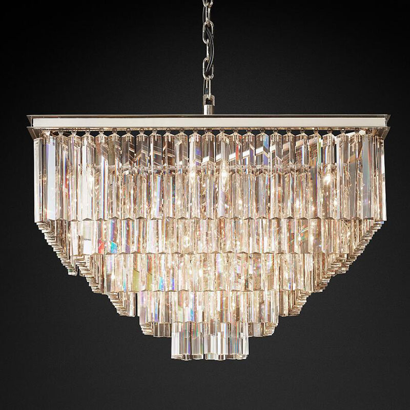 American Style Crystal chandeliers Light For Living Room Dining Room Home Hotel Retro Creative Square chrome