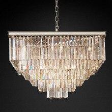 Lustre en cristal de Style américain rétro, carré et chromé, éclairage décoratif de plafond, idéal pour un salon, une salle à manger, un hôtel, E14 LED