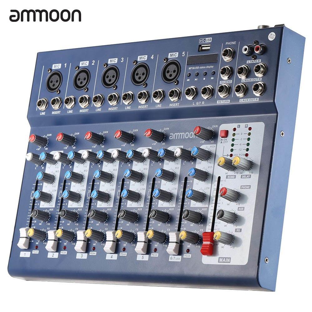 ammoon Mini Portable Audio Mixer with USB DJ Sound Mixing Console MP3 Jack 7 Channel Karaoke