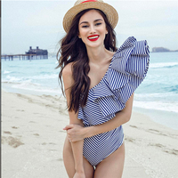 Komsomlsk V290 Elegant One Shoulder Ruffle Sexy Women Jumpsuit Romper One Piece Bodycon Striped Overalls Skinny