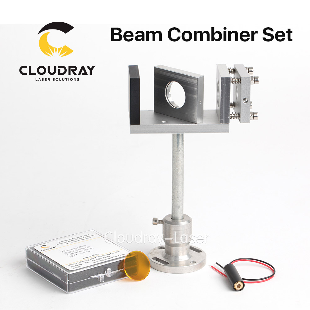 Cloudray Beam Combiner Set 20/25mm ZnSe Laser Beam Combiner + Mount + Laser Pointer for CO2 Laser Engraving Cutting Machine economic al case of 1064nm fiber laser machine parts for laser machine beam combiner mirror mount light path system