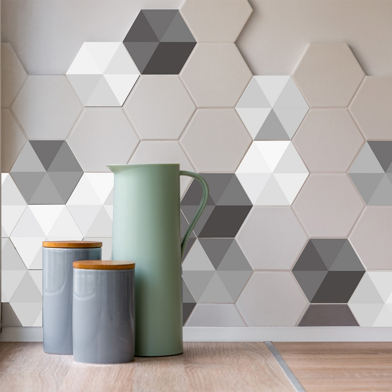 Hexagonal Wall Tile Kitchen Sticker Creative Geometric Wallpaper Waterproof Bat Angle Plastic Decal Mosaic Stickers 10pcs In From Home