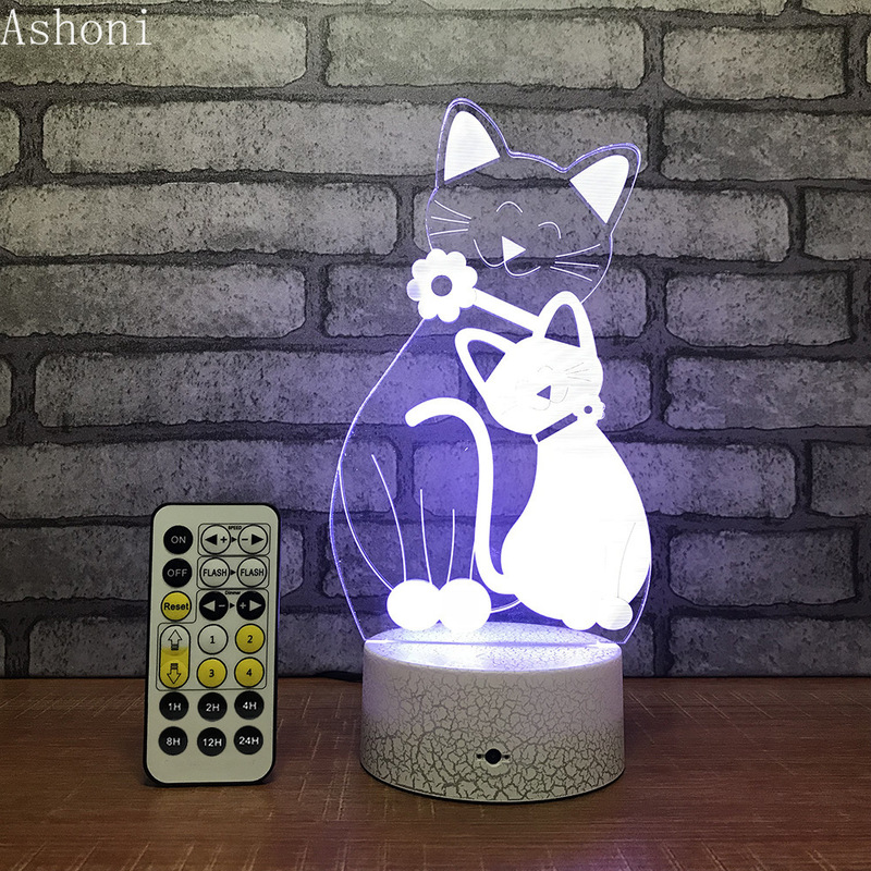 Cat 3D Table Lamp LED Night Light 7 Colors Changing Bedroom Sleep Lighting Home Decor Gifts